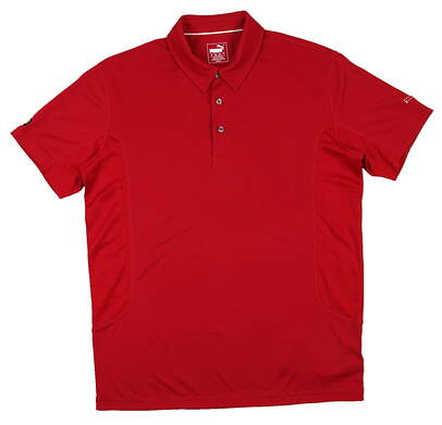 New Mens Puma Cool Cell Solid Tech Breathable Golf Polo Medium Tango Red MSRP $55