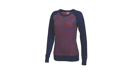 New Womens Puma Lux Knit Color Block Crew Neck Golf Sweater Small Medeival Blue 569080 MSRP $75