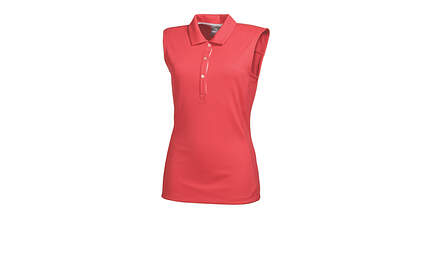 New Womens Puma Solid Tech Wicking Golf Sleeveless Polo Small Cayenne 569075 MSRP $55