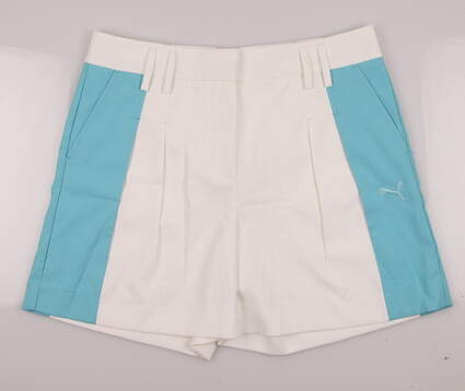 New Womens Puma Dry Cell Golf Colorblock Shorts Size Small S White/Capri