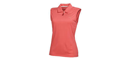 New Womens Puma Dry Cell Keyhole Breathable Golf Sleeveless Polo Small Cayenne 569065 MSRP $60