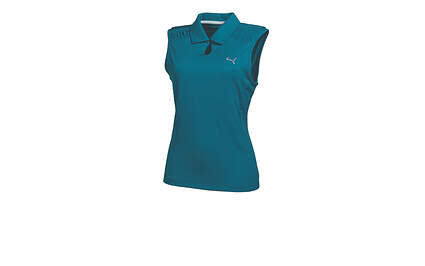 New Womens Puma Breathable Wicking Keyhole Golf Sleeveless Polo Small Blue Coral 569065 MSRP $60