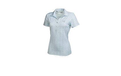 New Womens Puma Snap Print Wicking Dry Cell Golf Polo Small Clearwater 569068 MSRP $65