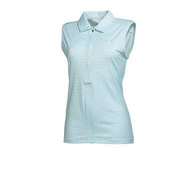 New Womens Puma Dot Pattern Dry Cell Sleeveless Golf Polo Small Clearwater 569063 MSRP $60