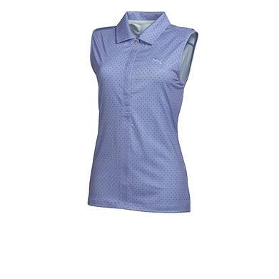New Womens Puma Dot Pattern Dry Cell Golf Sleeveless Polo Small Lavender 569063 MSRP $65