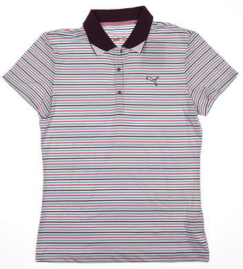 New Womens Puma Roadmap Stripe Dry Cell Wicking Golf Polo White Purple 566999 MSRP $65