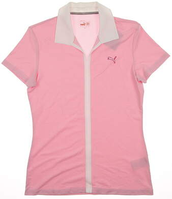 New Womens Puma Dry Cell Wicking V Neck Golf Polo Small White Fuchsia 567002 MSRP $60