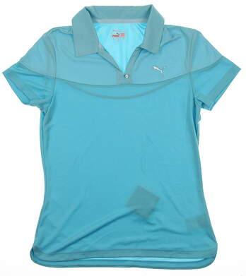 New Womens Puma Dry Cell Color Block V Neck Golf Polo Small Scuba Blue 567005 MSRP $60