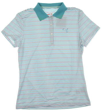 New Womens Puma Wicking Roadmap Stripe Textured Golf Polo Small Blue/White/Green 566999 MSRP $60
