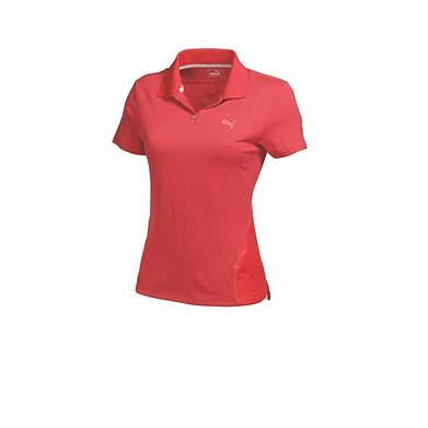 New Womens Puma Heather Mesh Stripe Cool Cell Golf Polo Small Cayennne 569066 MSRP $60