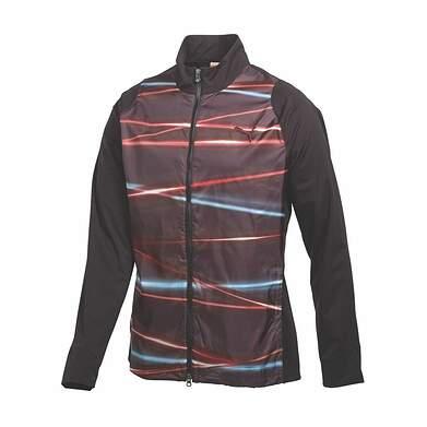 New Mens Puma Wind Cell Light Golf Jacket Medium Black Sublimation Print 566687 MSRP $90