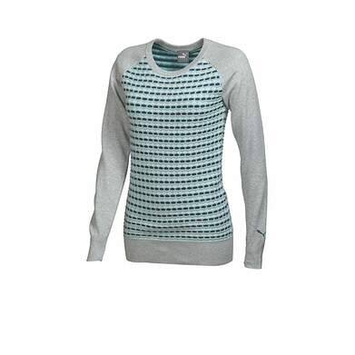 New Womens Puma Cotton Stretch ColorBlock Golf Sweater Small Gray Heather 569080 MSRP$75