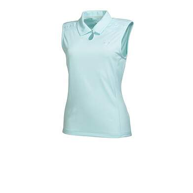 New Womens Puma KeyHole DryCell Golf Sleeveless Polo Small Clearwater 569065 MSRP $60