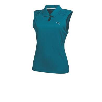 New Womens Puma KeyHole Dry Cell Golf Sleeveless Polo Small Blue Coral 569065 MSRP $60