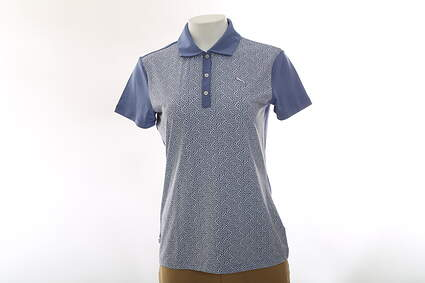 New Womens Puma Tile Print Dry Cell Golf Polo Small Bleached Denim 569610 MSRP $65