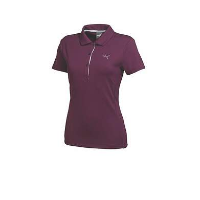 New Womens Puma Solid Tech Wicking Dry Cell Golf Polo Small Italian Plum 568336 MSRP $50