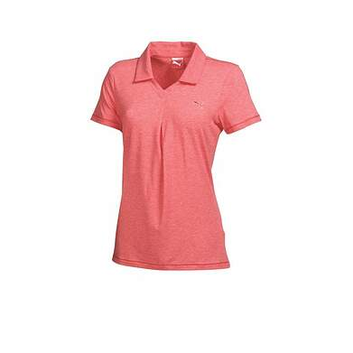 New Womens Puma Pleated Heather Dry Cell Golf Polo Small Cayenne 569062 MSRP $60