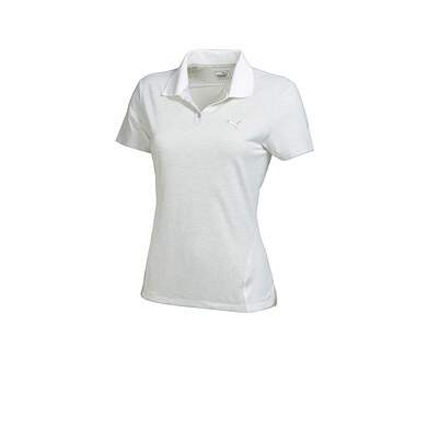 New Womens Puma Mesh Stripe Heather Cool Cell Golf Polo Small Gray/White 569066 MSRP $60
