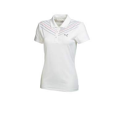 New Womens Puma Dry Cell Chevron Stitch Golf Polo Small White 569064 MSRP $60