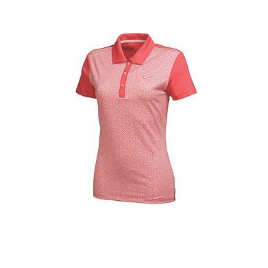 New Womens Puma Tile Print Dry Cell Wicking Golf Polo Small Cayenne 569610 MSRP $65