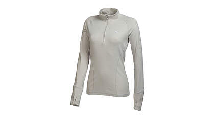 New Womens Puma Wicking Dry Cell Baselayer Golf 1/4 Zip Pullover Small Light Heather Gray 569077 MSRP $65
