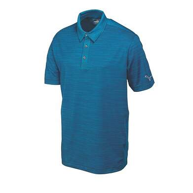 New Mens Puma Heather Stripe Polo Cresting Medium Peacoat 570098 MSRP $70
