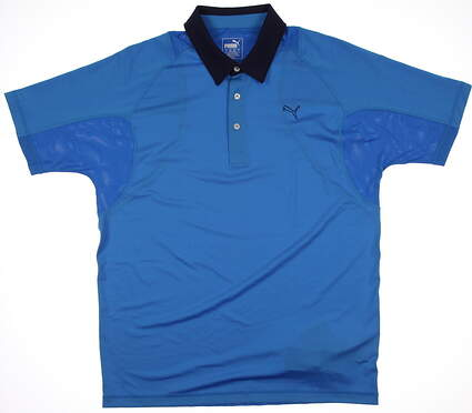 New Mens Puma Cool Cell Titan Tour Tech Golf Tech Polo Medium Blue 568252 MSRP $65