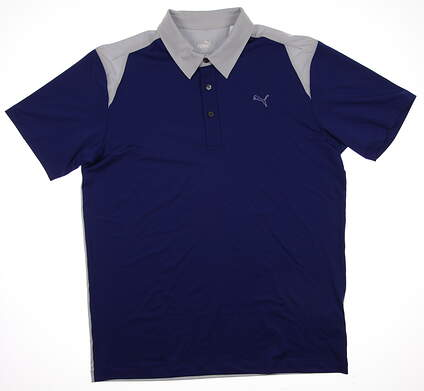 New Mens Puma Go Time ColorBlock Tech Wicking Golf Polo Medium Sodalite Blue 569107 MSRP $60