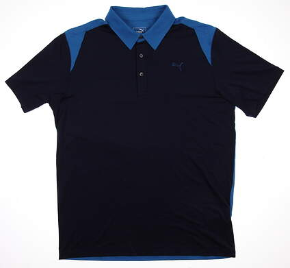 New Mens Puma Golf Blocked Polo Shirt Medium Peacoat 569107 MSRP $60