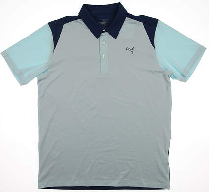 New Mens Puma Golf Dry Cell Blocked Polo Medium Clearwater Blue 569107 MSRP $60