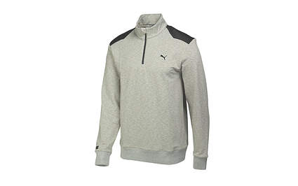 New Mens Puma Heather Performance Lux Knit Golf 1/4 Zip Pullover Medium Gray/Black 569304 MSRP $75