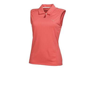 New Womens Puma Dry Cell Wicking Keyhole Golf Sleeveless Polo Small Cayenne 569065 MSRP $60