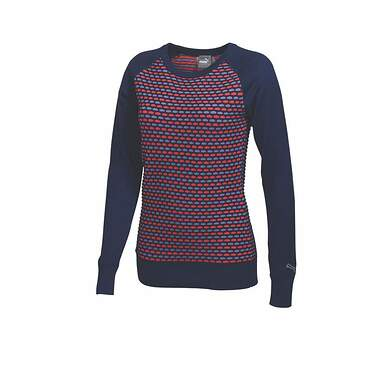 New Womens Puma Colorblock Novelty Knit Golf Sweater Small Medeival Blue 569080 MSRP $75