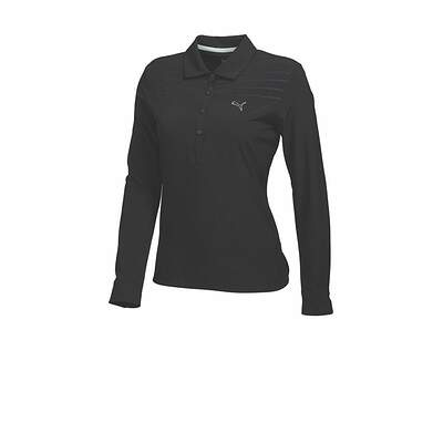 New Womens Puma Lux Woven Wicking Long Sleeve Golf Polo Small Black 569069 MSRP $60