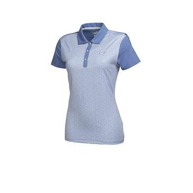 New Womens Puma Golf Tile Print Polo Small S Bleached Denim Blue 569610 MSRP 65.00