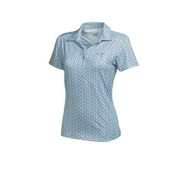 New Womens Puma Golf Snap Print Polo Small S Clearwater Blue 569068 MSRP 65.00