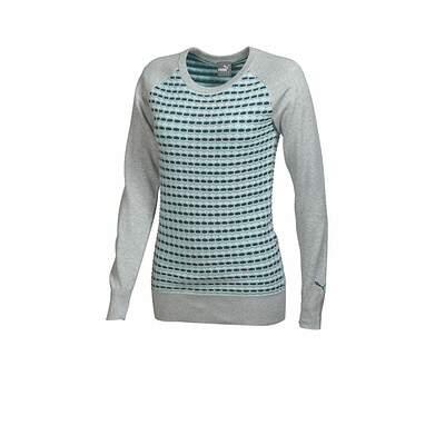 New Womens Puma Crew Neck Color Block Golf Sweater Small Gray 569080 MSRP $75