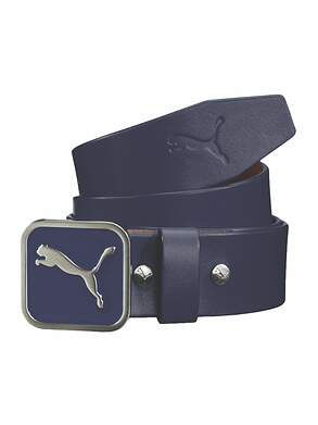 New Mens Puma Square Fitted Enamel Fill Buckle Peacoat Belt Large (100 cm) Leather PMGO3060 MSRP $50