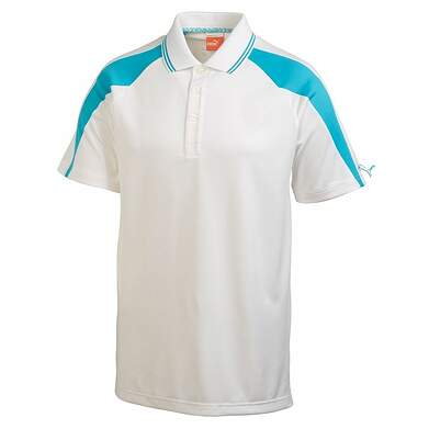 New Mens Puma Vented Colorblock Tech Golf Polo Medium White/Bluebird 565490 MSRP $75