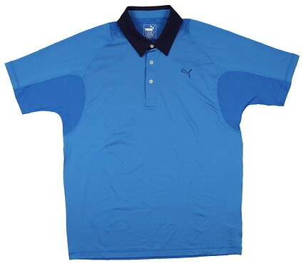 New Mens Puma Titan Tour ColorBlock Golf Polo Medium Cloisonne/Peacoat 568252 MSRP $65