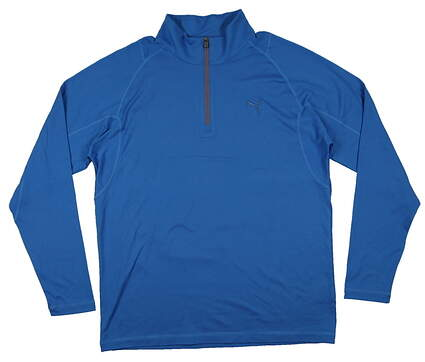 New Mens Puma Solid Tech Wicking Golf 1/4 Zip Pullover Medium Cloisonne 569113 MSRP $65