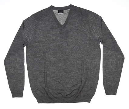 New Mens Nike Performance V-Neck Sweater Large Gray Heather Knit MSRP $100