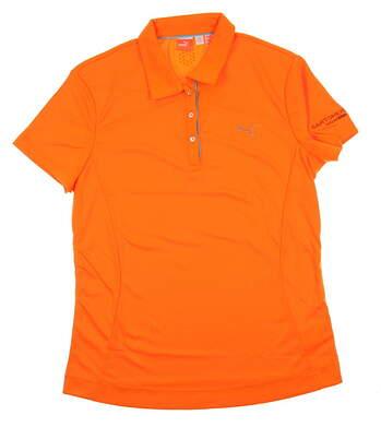 New W/ Logo Womens Puma Orange Popsicle Tech Dry Cell Golf Polo XL MSRP $55.00