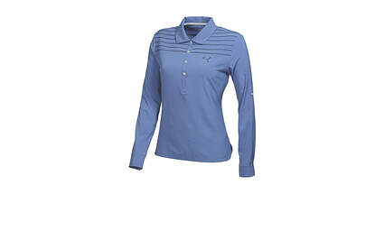 New Womens Puma Woven Long Sleeve Polo Small Bleached Denim 569069 MSRP $70.00
