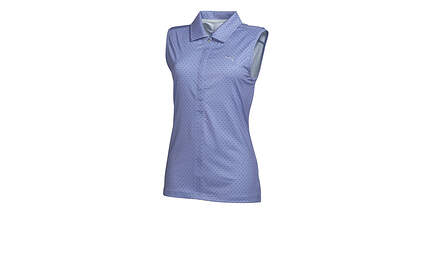 New Womens Puma Golf Sleeveless Dot Pattern Wicking Polo Bleached Denim Small MSRP $55
