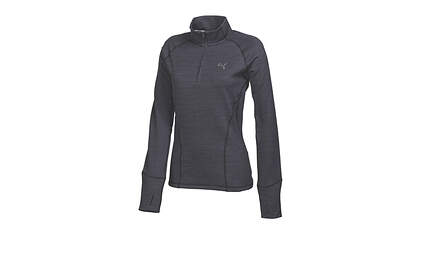 New Womens Puma Golf 1/4 Zip Pullover Small Gray/Black Stripe Dry Cell 569078 MSRP $75