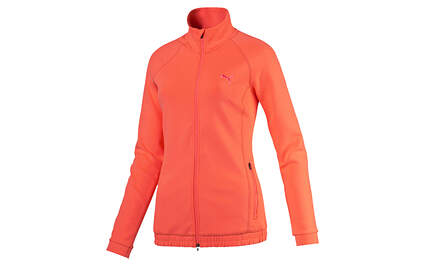 New Womens Puma Golf Track Full Zip Jacket Small Dry Cell Fluro Peach 571160 MSRP $75