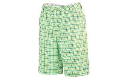 New Mens Puma Plaid Tech Golf Shorts 32W Lime Green Wicking 565519 MSRP $70