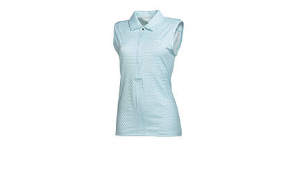 New Womens Puma Golf Dot Sleeveless Polo Small Clearwater Blue 569063 MSRP $60