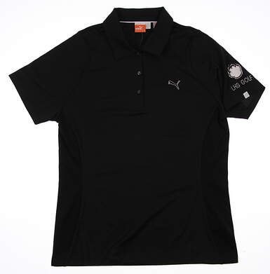 New W/ Logo Womens Puma Golf Duo Swing Polo Small S Black 565767 MSRP $60